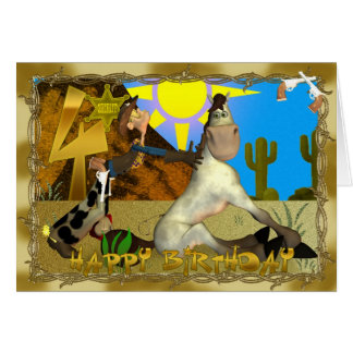 Happy Rooting Tooting 4th Birthday Greeting Card