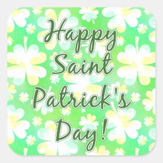 Happy St Patrick's Day Shamrocks Retro Watercolor Square Sticker