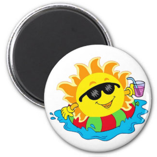 Happy Sun in the Pool 2 Inch Round Magnet