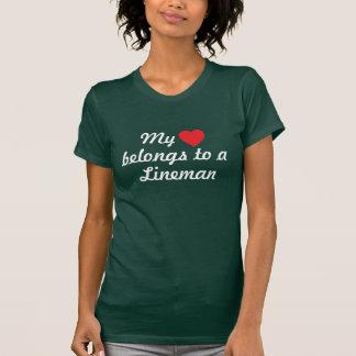 """""""heart belongs to a line man t-shirts"""