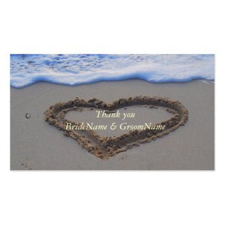 Heart in Sand Thank you Gift Tag Business Card