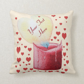 heart shaped flame burning red candle design pillow