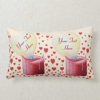 heart shaped flame burning red candle design throw pillows