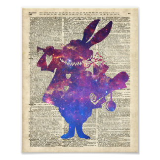 Herald Purple Rabbit Stencil Over Old Book Page Photograph