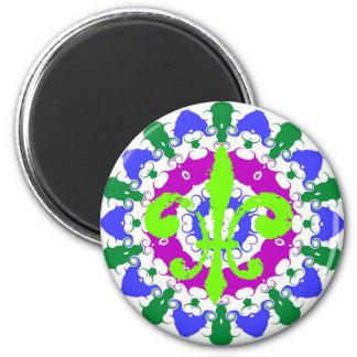 Hex Sign Green Fleur De Lis 2 Inch Round Magnet