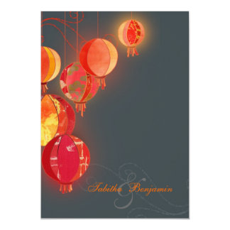 "Hip Red Lanterns Charcoal Gray Wedding 5"" X 7"" Invitation Card"