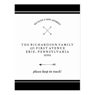 Hipster Arrows Black and White Change of Address Postcard