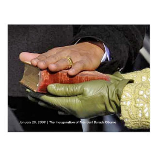 HISTORY: President Obama's Hand on Lincoln Bible Postcard