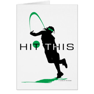 Hit This Green Pitcher Softball Greeting Card