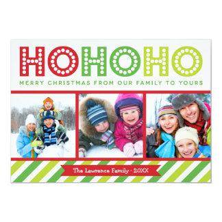 "Ho Ho Ho Photo Collage Modern Holiday Card 5"" X 7"" Invitation Card"