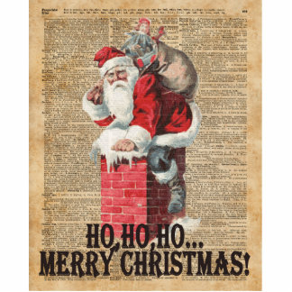 Ho,Ho Merry Chirstmas Santa Claus Dictitionary Art Standing Photo Sculpture