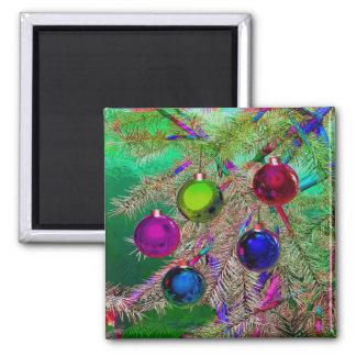 Holiday Pine Decor Square Magnet
