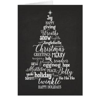 Holiday Word Tree folded Greeting Card