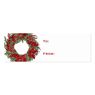 Holiday Wreath Christmas Gift Tag Mini Business Card