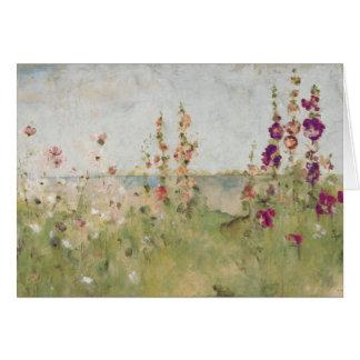 Hollyhocks by the Sea Greeting Card
