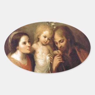 Holy Family with Cherubs by Gutierrez Oval Sticker