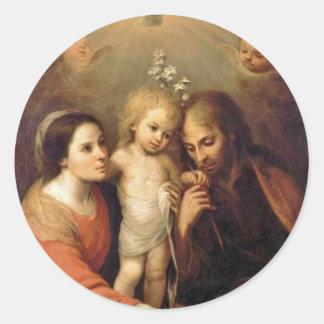 Holy Family with Cherubs by Gutierrez Round Sticker