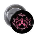 Hope Faith Love Strength Breast Cancer 2 Inch Round Button