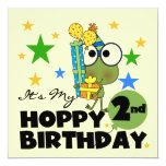 """Hoppy Frog 2nd Birthday T-shirts and Gifts 5.25"""" Square Invitation Card"""