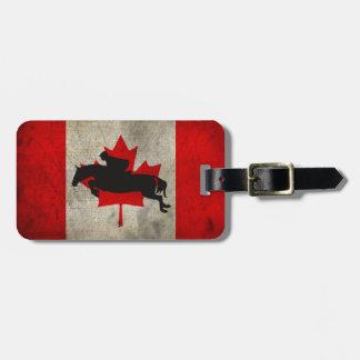Horse Jumper Canada Flag Luggage Bag Tag