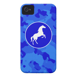 Horse on Blue Camo; Camouflage Case-Mate iPhone 4 Case