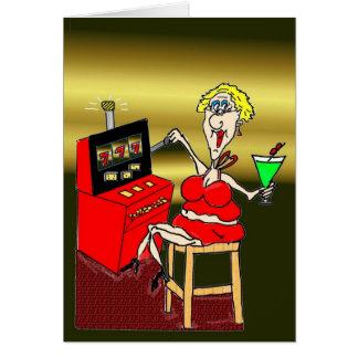 HOT MAMA SLOT MACHINE MARTINI BIRTHDAY CARD
