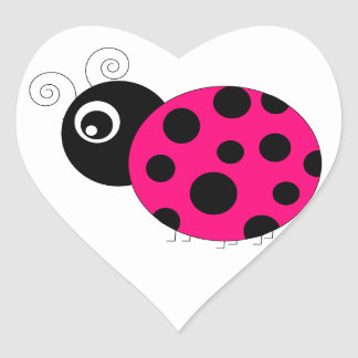 Hot Pink and Black Ladybug Heart Sticker