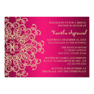 """Hot Pink and Gold Indian Inspired Bridal Shower 5"""" X 7"""" Invitation Card"""