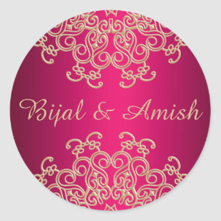 HOT PINK AND GOLD INDIAN INSPIRED THANK YOU LABEL ROUND STICKER