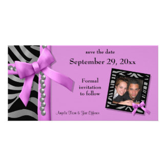 Hot Pink And Silver Zebra Gems Save The Date Card Photo Greeting Card