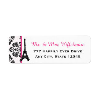 Hot Pink Damask Eiffel Tower Return Address Label