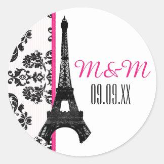 Hot Pink Monogrammed Damask Eiffel Tower Wedding Round Sticker