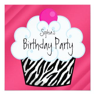 "Hot Pink Zebra Girls Cupcake Birthday Party 5.25"" Square Invitation Card"