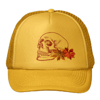 Human Skull Drawing in Autumn Colors Trucker Hat