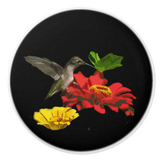 Hummingbird and Zinnia Flowers Ceramic Knob