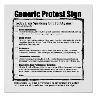 Humorous Generic Protest Sign Poster