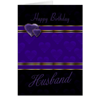 husband birthday card modern design, purple and bl