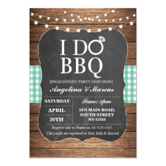 I DO BBQ Party Engagement Shower Chalk Mint Invite