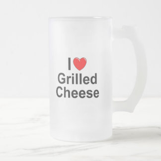 I Love (Heart) Grilled Cheese 16 Oz Frosted Glass Beer Mug