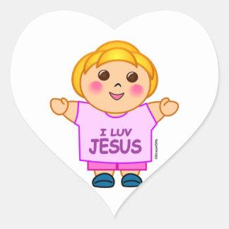 I love Jesus little girl religious gift design Heart Sticker