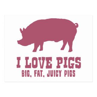 I Love Pigs Postcard