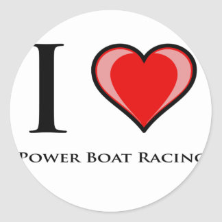 I Love Power Boat Racing Round Sticker