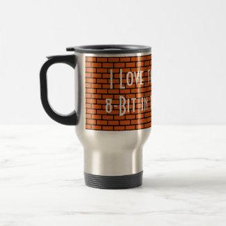 I Love the Smell of 8-Bit in the Morning, Orange 15 Oz Stainless Steel Travel Mug