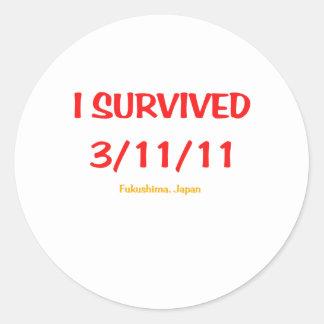 I Survived 3/11/11 (March 11, 2011) Round Sticker