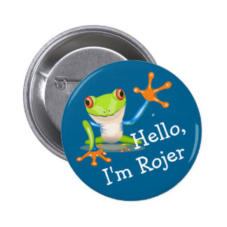 Ice Breaker Friendly Frog Personalized 2 Inch Round Button