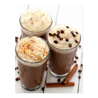 Ice coffee with whipped cream and coffee beans postcard