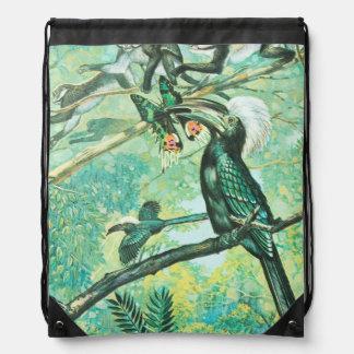Image verte tropicale, oiseau et Monkies Sacs Avec Cordons