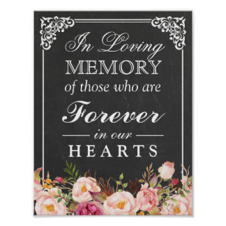 In Loving Memory Floral Chalkboard Wedding Sign Poster