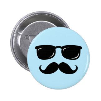 Incognito blue button with mustache and sunglasses