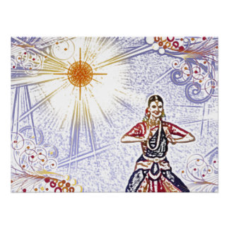 India Dancer with Sun (colored pencil) Poster